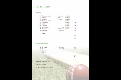 Cricket score card 1914